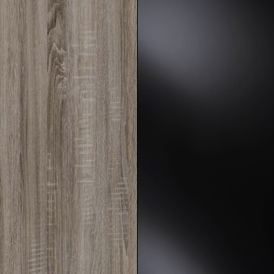 Dark Rustic Oak Carcase with Black Glass Front and Chrome Trims 218