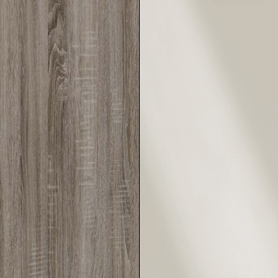 Dark Rustic Oak Carcase with Magnolia Glass Front and Chrome Trims 218