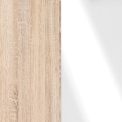 Rustic Oak Carcase with White Glass Front and Chrome Trims 217