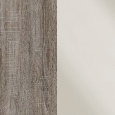 Dark Rustic Oak Carcase and Magnolia Glass Front with Chrome Handles Ledges and Trims 328