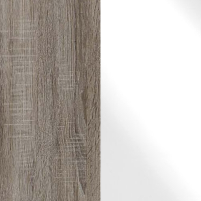 Dark Rustic Oak Carcase and White Glass Front with Chrome Handles Ledges and Trims 328