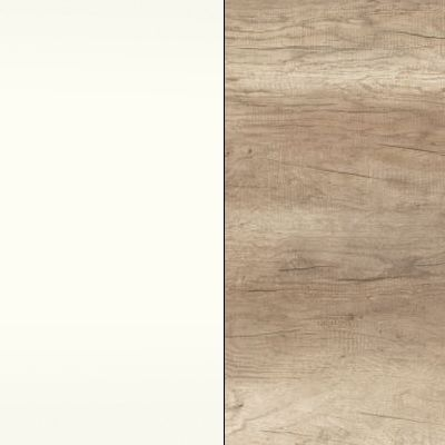 Alpine White Carcase with Sanata Oak Highlight Front with Cross Trim 508
