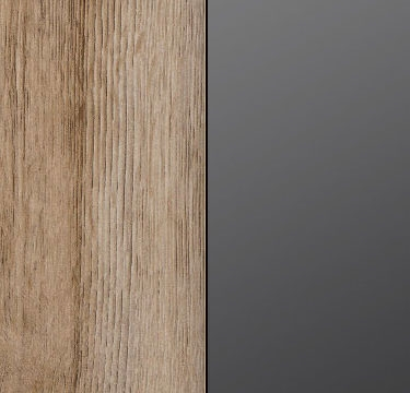 Sanremo Light Oak Carcase and Front with Glass Basalt Application and Chrome Color Handle AP407