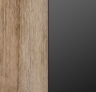 Sanremo Light Oak Carcase and Front with Glass Black Application and Chrome Color Handle AP465