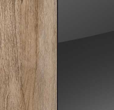 Sanremo Oak Light Carcase and Front with Basalt Application with Chrome Color Handle A4P66