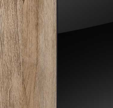 Sanremo Oak Light Carcase and Front with Black Application with Aluminium Color Handle AN465