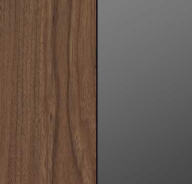 Royal Walnut Carcase with Basalt Glass Front and Chrome Color Handle A2C11