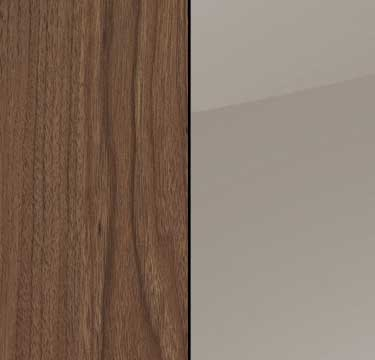 Royal Walnut Carcase with Fango Glass Front and Chrome Color Handle A2C59