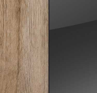 Sanremo Oak Light Carcase with Basalt Glass Front and Chrome Color Handle A4C11
