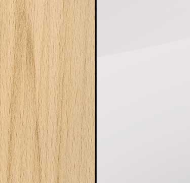 Natural Beech Carcase and Front with Glass Crystal White Top A2148