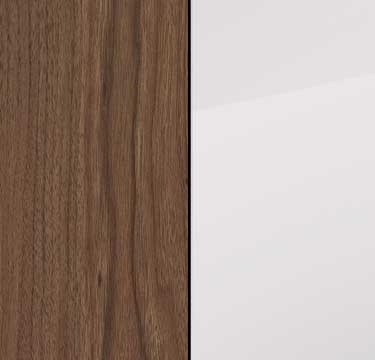 Royal Walnut Carcase and Front with Glass Crystal White Top A6528