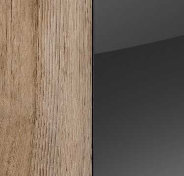 Sanremo Oak Light Carcase and Front with Glass Basalt Top AN494