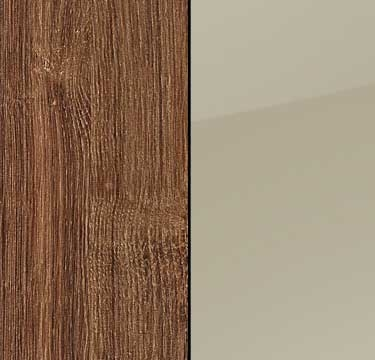 Stirling Oak Carcase with High Polish Sand Grey Front AS513