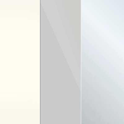 White Carcase with Pebble Grey Glass and Crystal Mirror Front 370