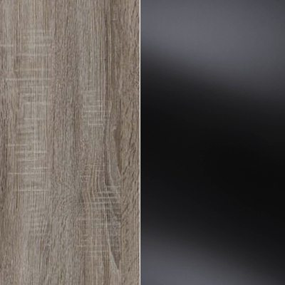 Dark Rustic Oak Carcase Color and Front with Black Glass 433