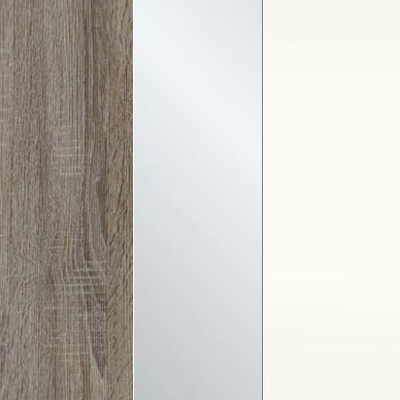 Dark Rustic Oak Carcase Color with Crystal Mirror and White Front 433