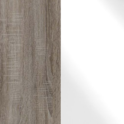 Dark Rustic Oak Carcase Color and Front with White Glass 433