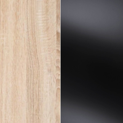 Rustic Oak Carcase Color and Front with Black Glass 432