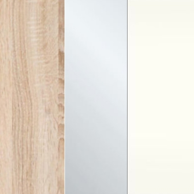 Rustic Oak Carcase Color with Crystal Mirror and White Front 432
