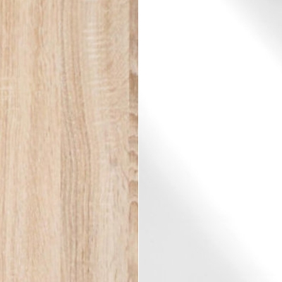 Rustic Oak Carcase Color and Front with White Glass 432
