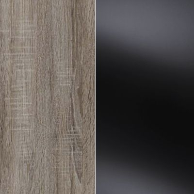 Dark Rustic Oak Carcase Color and Front with Black Glass 530