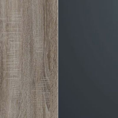 Dark Rustic Oak Carcase Color and Front with Dark Grey Glass 433
