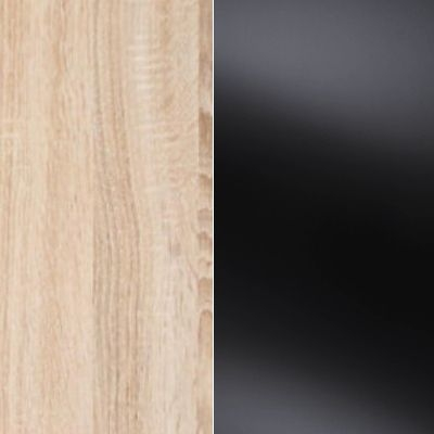 Rustic Oak Carcase Color and Front with Black Glass 526