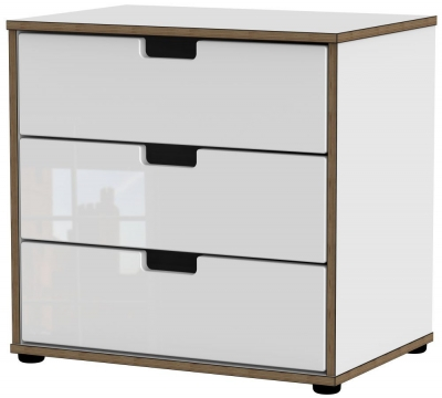 White High Gloss Front with White Base Unit with Plastic Legs