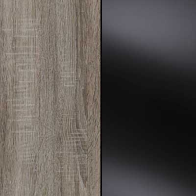 Dark Rustic Oak with Black Faux Leather Headboard Cushion 964