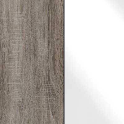 Dark Rustic Oak with White Faux Leather Headboard Cushion 964