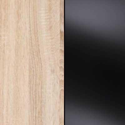 Rustic Oak with Black Faux Leather Headboard Cushion 963