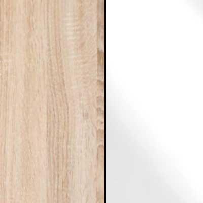 Rustic Oak with White Faux Leather Headboard Cushion 963