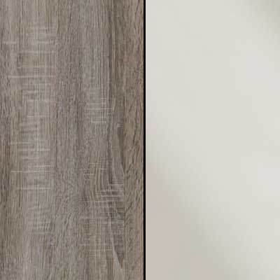 Dark Rustic Oak Carcase with Magnolia Glass Front 964