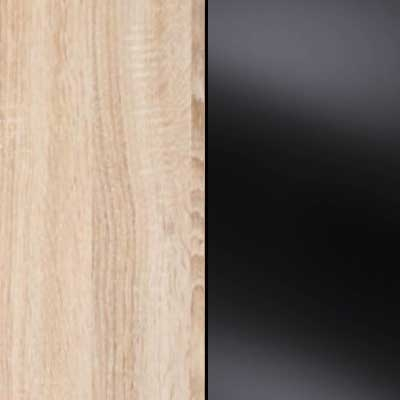 Rustic Oak Carcase with Black Glass Front 963