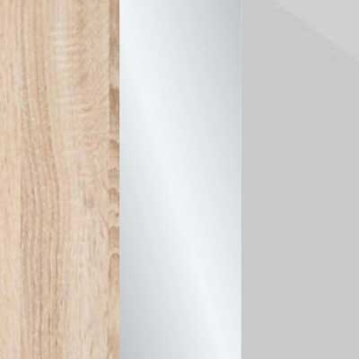 Rustic Oak Carcase with Crystal Mirror and Pebble Grey Glass Front 669