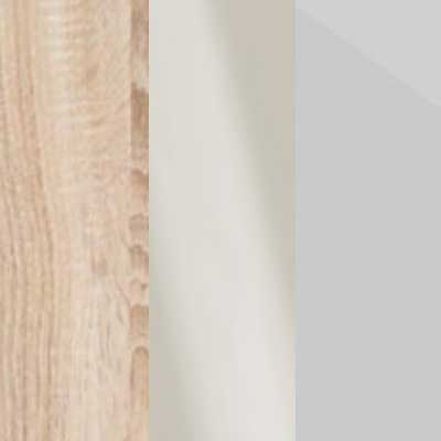 Rustic Oak Carcase with Magnolia Glass and Pebble Grey Glass Front 669