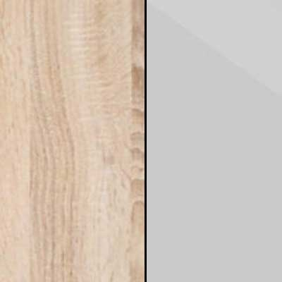 Rustic Oak Carcase with Pebble Grey Glass Front 669