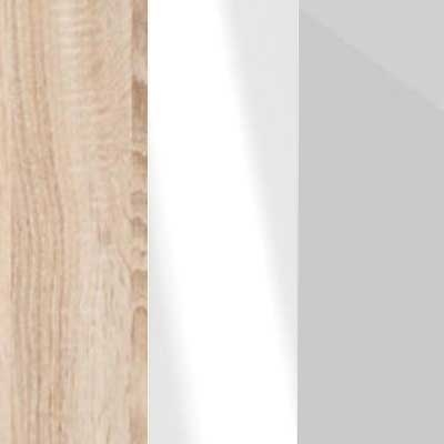 Rustic Oak Carcase with White Glass and Pebble Grey Glass Front 669