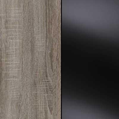 Dark Rusctic Oak with Black Faux Leather Headboard Cushion 635