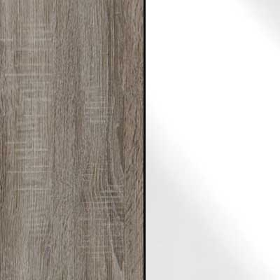 Dark Rusctic Oak with White Faux Leather Headboard Cushion 635