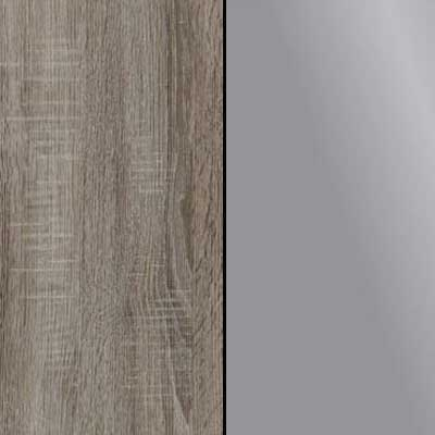Dark Rustic Oak Carcase and Front with Dark Grey Glass Highlights Finish and Chrome Handle and Cross Trims 635