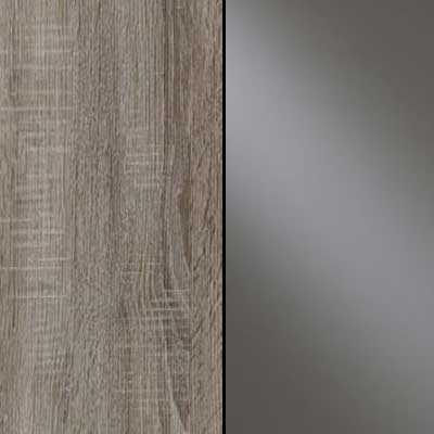 Dark Rustic Oak Carcase and Front with Havana Glass Highlights Finish and Chrome Handle and Cross Trims 635