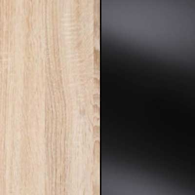 Rusctic Oak with Black Faux Leather Headboard Cushion 634