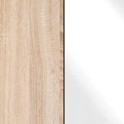 Rusctic Oak with White Faux Leather Headboard Cushion 634