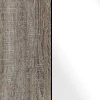 Dark Rustic Oak with White Faux Leather 413