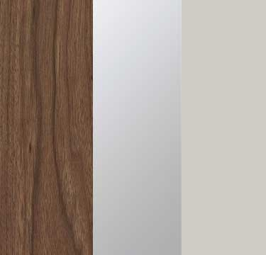 Royal Walnut Carcase with Mirror and Silk Grey Front A2W10
