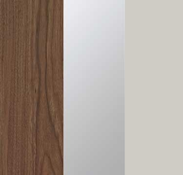 Royal Walnut Carcase with Mirror and Silk Grey Glass Front A2W93