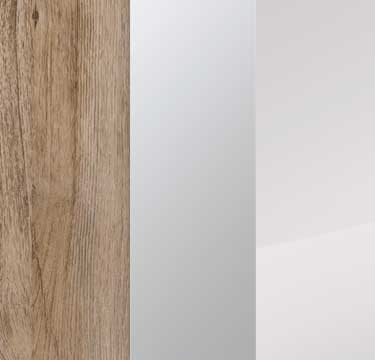 Sanremo Oak Light Carcase with Mirror and Crystal White Glass Front A4W83