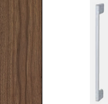 Royal walnut Carcase with High Polish White Front and Aluminium Color Handle A601M