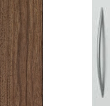 Royal walnut Carcase with High Polish White Front and Aluminium Color Handle A601P